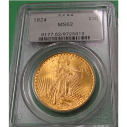 1924 St. Gaudens $20 gold coin, PCGS MS62