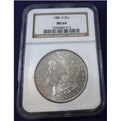 1881 S Morgan dollar, NGC MS 64
