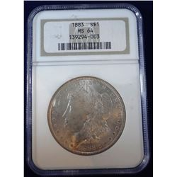 1883 Morgan dollar, NGC MS 64