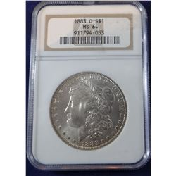 1883 O Morgan dollar, NGC MS 64