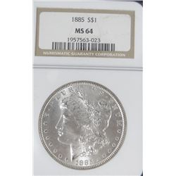1885 Morgan dollar, NGC MS 64