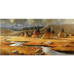 "Milligan, L. B. oil on canvas, Camp At Elk Killed Creek, 20"" x 40"", framed"