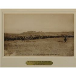 "Huffman, L. A. BW collotype 1905, Evening At The Roundup, 12"" x 7"", framed"