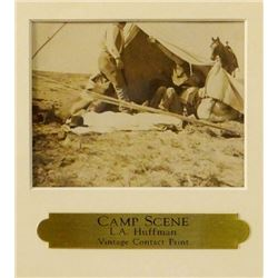 """Huffman, L. A. vintage contact print, Camp Scene, 3 1/2"""" x 4 1/2"""", framed"""
