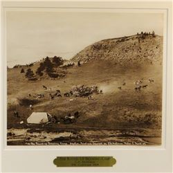 """Huffman, L. A. collotype, The Roundup Breaking Camp, 9 3/8"""" x 11"""" framed"""