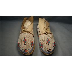 Shoshone full beaded moccasins, Fort Hall, ID., ca 1930's, few beads loose or missing.