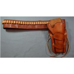 Longhorn Saddlery SAA double loop holster w/belt and Sheridan, WY Bank of Commerce leather money bag