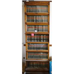 """Globe Wernicke oak barrister, 7 section high, 100"""" h x 36"""" w. No shipping this item."""