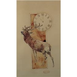 """Seltzer, O. C. (1877-1957) original watercolor, Eleven O'Clock At The Elks's, 9 1/4"""" x 5 1/2"""""""