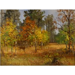 "Abbrescia, Joe (1936-2005), original oil on canvas, Fall Buck, 12"" x 16"""
