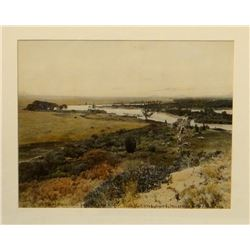 "Huffman, L. A. hand tinted photo, The Yellowstone From Pompey's Pillar, 1906 #362, 7 1/2"" x 9 1/2"","
