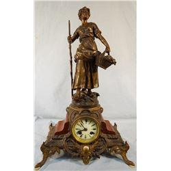 """La Cueillette French ornate figural clock, Par L F Moreau, 22"""" h x 13"""" w, L & F Moreau"""