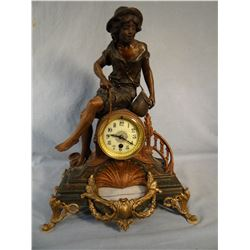 "French figural clock, Boy Fishing, 17"" h x 13"" w,"