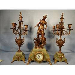 "I Rousseau French ornate figural clock w/cupid and arrow, jadite base, 24"" h, 2 candleabras"