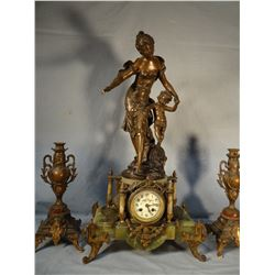 "La Fortune Guidant Mother and Child French figural clock, Aug Moreau, 28"" h x 15"" w, hand painted fa"