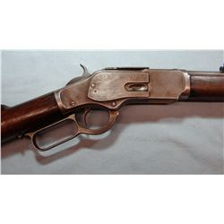 """Win. 1873 rifle, .44-40, 24"""" oct bbl., bright bore, chip in foregrip, s#386393B, made 1890. LN83"""