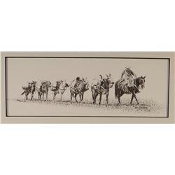"Cooper, Ash, (2) framed prints, Pack Train, 5"" x 13"", 136/200, 1998; Six Mule Hitch, 5"" x 13"", 13/20"