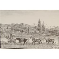 "Cooper, Ash, (2) framed prints, Moving The Saddle Horses, 7"" x 10"", 1993; Horse and Wagon, 5"" x 14"","