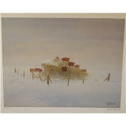 "Standing, William signed and framed print, Herefords in The Hay, 12"" x 15"", 966/1000"