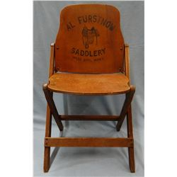Al Furstnow Saddlery advertising wooden folding chair, rare. Nice condition!