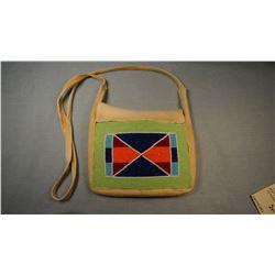 "Crow beaded purse, 6"" x 8"""