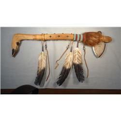 """Tomahawk, 23"""", deer hoof trim, Chippewa/CreeMany Trails Collection."""
