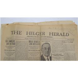 (4) vintage Montana newspapers, Hilger Herald, Denton Recorder, Lewistown Democrat News,  Phillipsbu