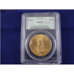 1908 St. Gaudens $20 gold coin, no motto, PCGS MS62