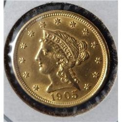 1905 Liberty head $2.50 gold piece, BU