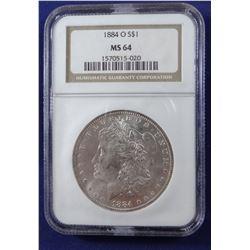 1884 O Morgan dollar, NGC MS 64