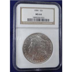 1886 Morgan dollar, NGC MS 64