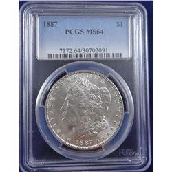 1887 Morgan dollar, NGC MS 64