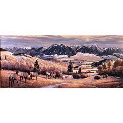 "Zabel, Larry (1930-2012) signed and framed print, October At Bullis Creek, 15"" x 34"", 377/500"