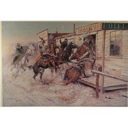 """Russell, C. M. framed print, In Without Knocking, 24"""" x 24"""", open edition"""