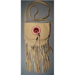 """Buckskin purse, Many Trails collection, 8"""", Chippewa Cree"""
