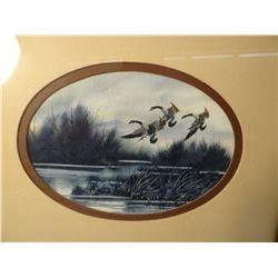 """(2) Urdahl, Ron, paintings, 3 Honkers, 7"""" x 5"""" each, 1983 & 1985"""