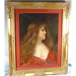 "Asti, A. framed pastel print, Elegant Lady portrait, 24"" h x 18"" w"