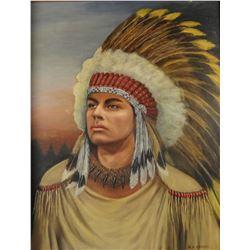 """Indian brave, oil on board, 16"""" x 20"""", framed"""