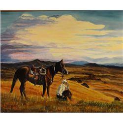 """McEwan, Yvonne, Cowboy Resting, oil on canvas, 16"""" x 20"""""""