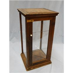 Wooden display case, glass sides/shelves and pine hand-crafted stool/plant stand