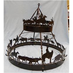 "Western décor pot/kettle rack, hanging style, 29"" w"