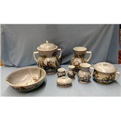 Stone China 8 pc chamber set, pitcher/bowl and accessory pcs, hand painted, Alaska  wildlife scenes,