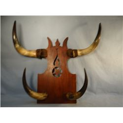 """Steer horn hat rack, 28"""" x 28"""" and vintage Western Clothier, Cody, WY wooden sign"""