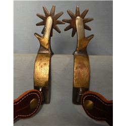 Crockett Spurs, silver & brass mounted, 8 pt. rowels, chap guards