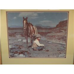 (3) Johnson, Frank Tenney vintage framed prints, Night On The Range, Guardian Of The Herd, Looking B