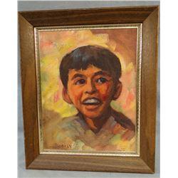 "Bodily, Sheryl, oil on canvas, Young Boy portrait, 7"" x 9"", framed"