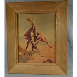 """(2)  Bucking horse prints, framed in Ranch Oak, 10"""" x 14"""""""