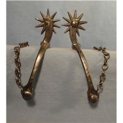 Iron ladies spurs, no marking and Shop built iron spurs, 8 pt rowels