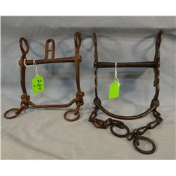 (2)  Buermann iron bits, #1376 dove bit w/welded rein chains;  heavy etched bit, #1886