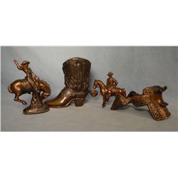 (4)  copper western figures